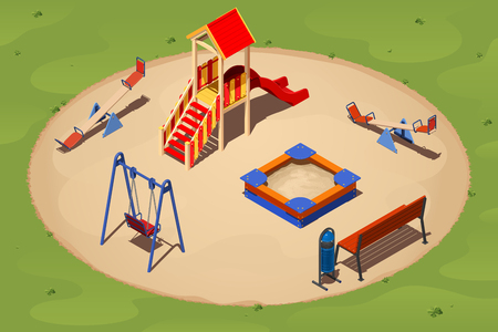 Children's playground on a round sand glade among the grass, isometric vector illustration Foto de archivo - 107105674