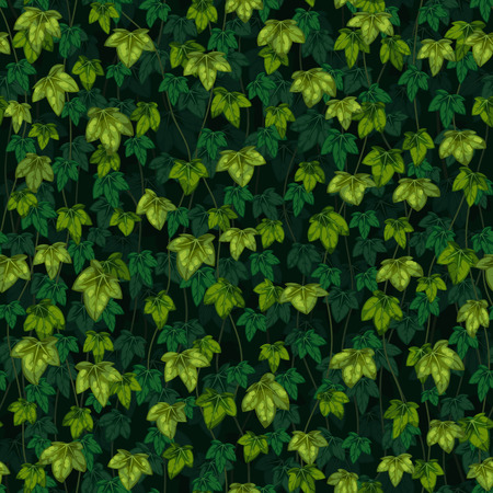 Seamless vector texture of ivy leaves on dark green background.