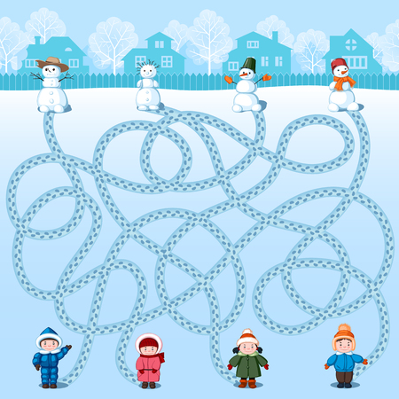 Four children make four snowmen. Find whose is where? Childrens winter picture with a riddle