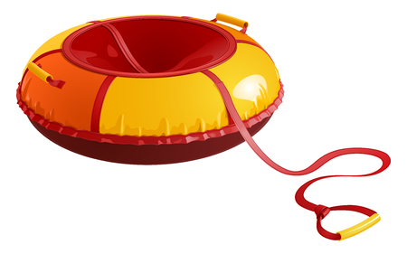 Childrens round inflatable sledges for winter driving from a hill, red-yellow. Vector illustration on white background.