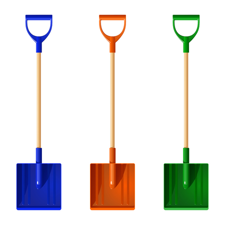 Set of colored plastic shovels with wooden handles, vector illustration isolated on white background.