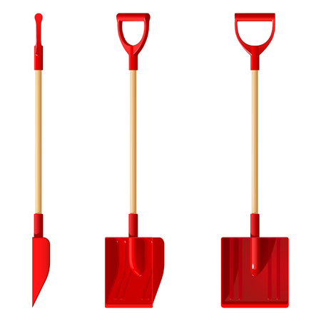 Red plastic snow shovel with wooden handle, vector illustration isolated on white background Illustration