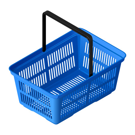 Plastic blue empty shopping cart in isometric view. Isolated vector illustration on white background.