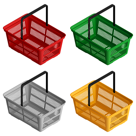 Set of four isometric view. Isolated vector illustration on white background.