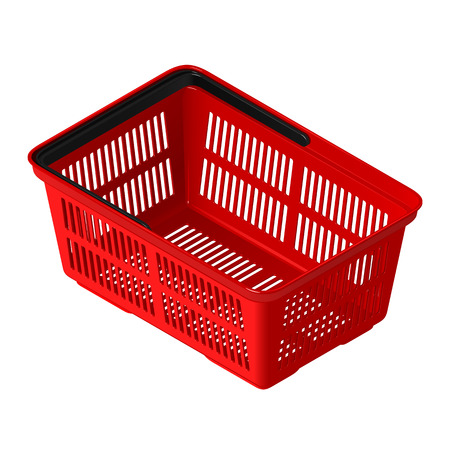 Plastic red empty shopping cart in isometric view. Isolated vector illustration on white background Illustration