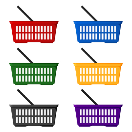 A set of six colored shopping baskets side view. Isolated vector illustration on white background. Illustration