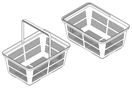 Shopping cart in isometric view. Isolated vector contour illustration on white background.