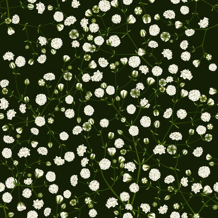 Seamless pattern of white small flowers on a green background.