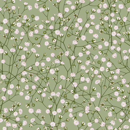 Seamless pattern of white flowers on a light green background.
