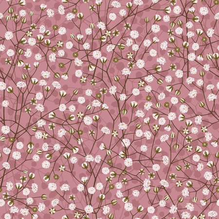 Seamless pattern of white small flowers on a pink background.