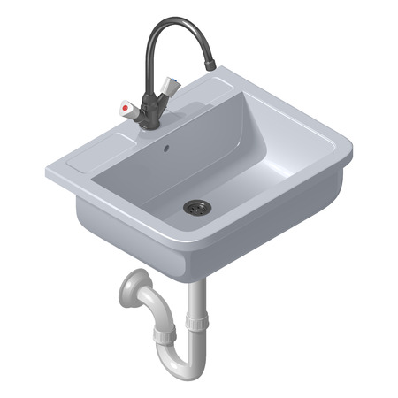Ceramic white sink for the kitchen. Vector isometric illustration on a white background.