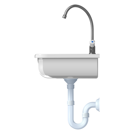 Ceramic white sink for the kitchen. Vector illustration, side view, on a white background.