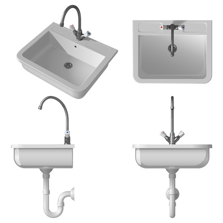 Ceramic white sink for the kitchen. Vector illustration, side view, front view, top view and general view, on a white background.