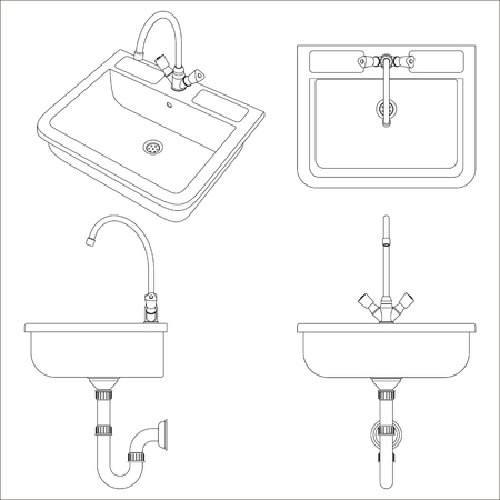 Ceramic white sink for the kitchen. Black and white vector illustration on white background.  イラスト・ベクター素材