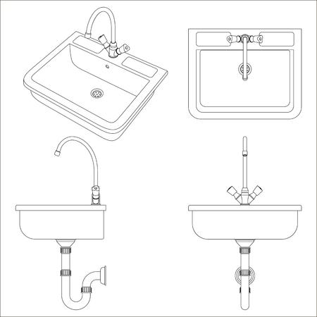 Ceramic white sink for the kitchen. Black and white vector illustration on white background. Иллюстрация