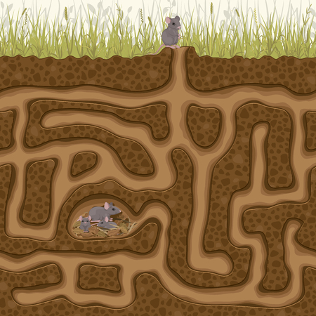 Help his little mouse find his family in the hole. Childrens game picture puzzle with a labyrinth.  イラスト・ベクター素材