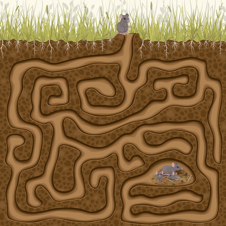 Help his little mouse find his family in the hole. Childrens maze game.