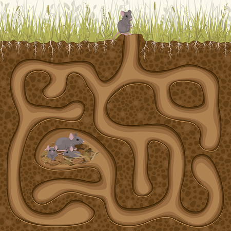 Help his little mouse find his family in the hole. Childrens simple maze game.  イラスト・ベクター素材