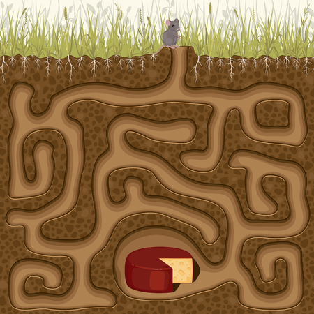 Help the little mouse get to the cheese. Childrens game picture puzzle with a labyrinth.