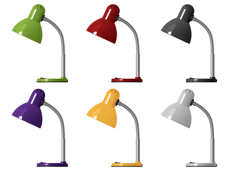 Set of six vector images of office lamps, different colors, isolated