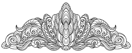 Black and white outline pattern for a tiara, for coloring and cutting.