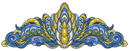 Vector drawing of a patterned diadem in blue and yellow on a white background. Иллюстрация