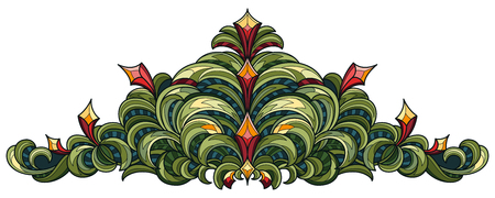 Vector drawing of a patterned diadem in green and red on a white background. Illustration