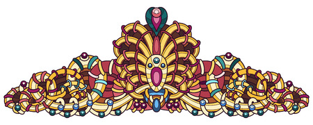 Vector drawing of a patterned diadem, in yellow, pink and turquoise, on a white background. Illustration