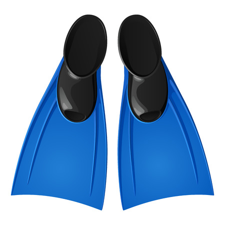 Rubber flippers for swimming, blue with black, top view. Isolated vector image on white background. Illustration