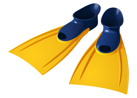 Rubber flippers for swimming, blue with yellow