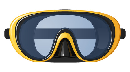 Yellow diving mask on white background