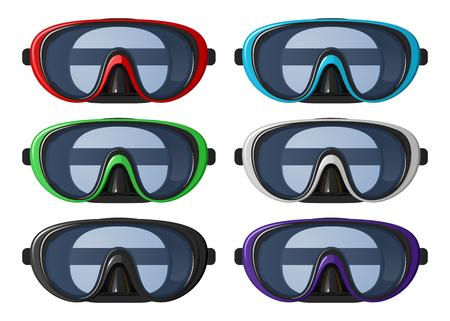 Set of six diving masks on white background. Illustration