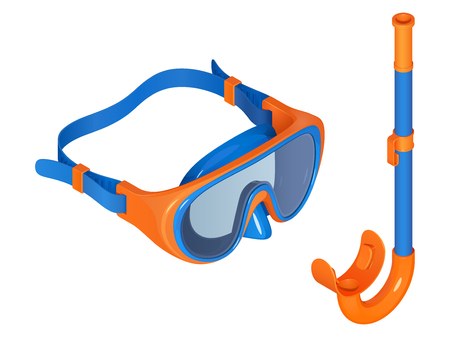 Swimming set. Snorkel mask in isometric view, blue and orange vector illustration on a white background.