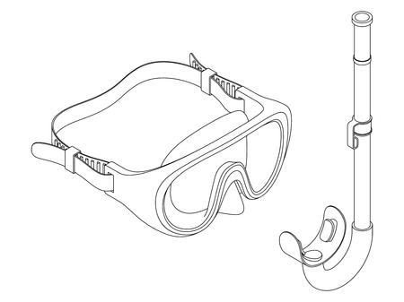 Swimming set. Black and white contour vector illustration on white background. Illustration