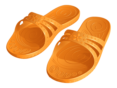 Rubber orange slippers on white background