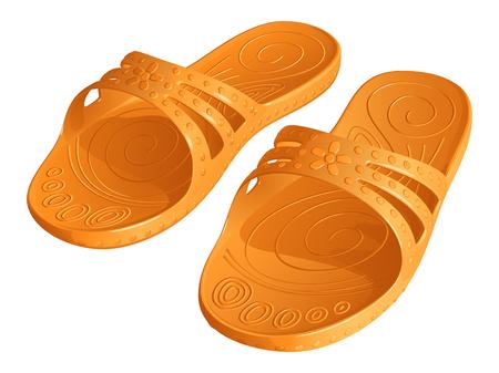 Rubber orange slippers on white background