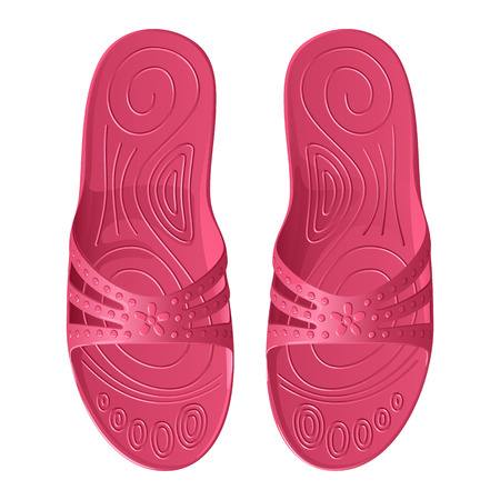 Rubber pink slippers for women