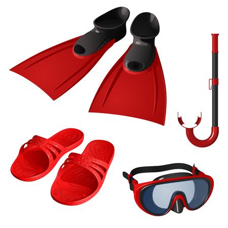 Eine Reihe von Artikeln zum Schwimmen, rot. Maske, Atemschlauch, Flossen und Gummipantoffeln isoliert auf weißem Hintergrund.