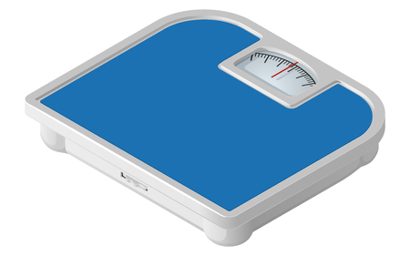 Blue mechanical floor scales in isometric view. Vector illustration isolated on white background.