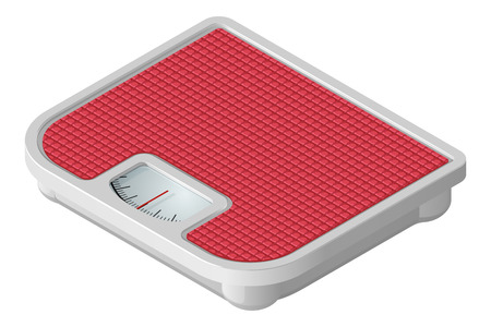 Pink mechanical floor scales in isometric view. Vector illustration isolated on white background. Иллюстрация