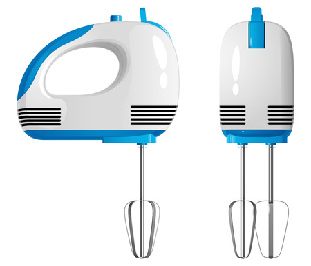 Manual electric kitchen mixer, front and side view. Isolated vector illustration on white background.