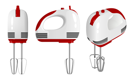 Red - white electric mixer, side view Illustration
