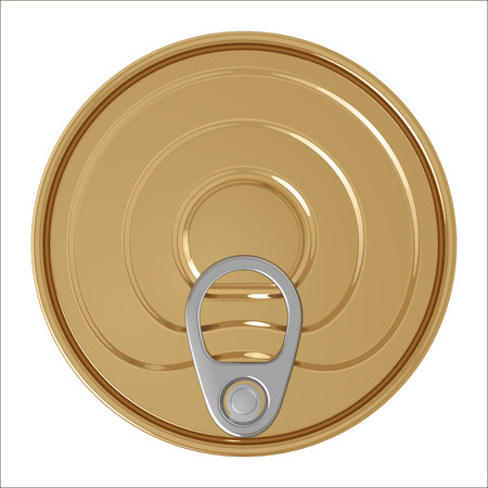 Yellow tin can with key, top view, isolated on white background
