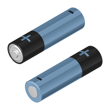 Two AA batteries, black and blue Illustration