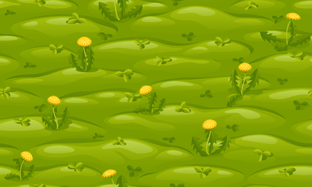 Seamless green lawn with yellow dandelions, vector cartoon background. Иллюстрация