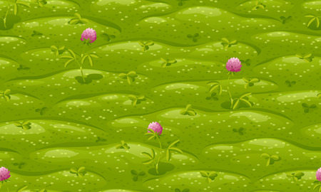 Seamless green lawn with pink flowering clover, vector cartoon background.