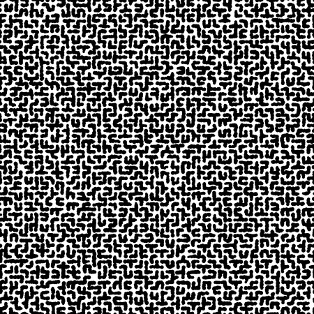 Seamless vector black and white texture of uneven labyrinth. Black and white chaotic hand-drawn pattern.