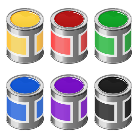 A set of cans of paints, red, yellow, green, blue, violet and black. Vector isometric illustration isolated on white background. Иллюстрация