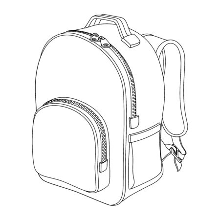 Schoolboy backpack. Black and white vector outline drawing on a white background.