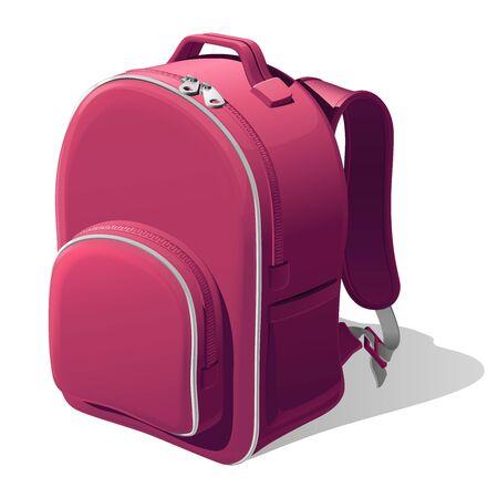 Pink school backpack with shoulder straps